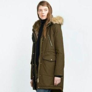 Zara • Olive Green Leopard Lined Winter Jacket